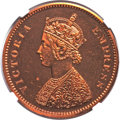 India:British India, India: British India. Victoria Prooflike Restrike 1/2 Anna 1878-(C) PL64 Red NGC,...