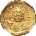 Ancients:Byzantine, Ancients: Justinian I the Great (AD 527-565). AV solidus (4.49 gm).NGC Choice AU 5/5 - 4/5....