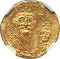 Ancients:Byzantine, Ancients: Constans II (AD 641-668), with Constantine IV. AV solidus(4.48 gm). NGC Choice MS 4/5 - 5/5....