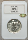 Commemorative Silver, 1939 50C Oregon MS65 NGC. Gold CAC. NGC Census: (231/415). PCGSPopulation: (420/424). CDN: $500 Whsle. Bid for problem-fre...