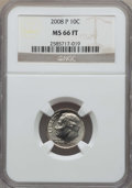 Roosevelt Dimes, 2008-P 10C Satin Finish MS66 Full Bands NGC. NGC Census: (13/3). PCGS Population: (9/1). ...