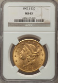Liberty Double Eagles, 1902-S $20 MS63 NGC....