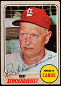 Autographs:Sports Cards, 1968 Topps Red Schoendienst #294 Signed Card. ...