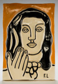 Post-War & Contemporary:Sculpture, After Fernand Léger (1881-1955). Visage aux deux mains sur fondorange, circa 1950. Glazed ceramic plaque. 17-1/4 x 12 i...
