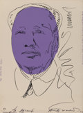 Prints, Andy Warhol (1928-1987). Mao, 1974. Screenprint on wallpaper. 40 x 29-1/2 inches (101.6 x 74.9 cm) (sheet). From an unli...
