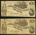 Confederate Notes:1862 Issues, T44 $1 1862 PF-1 Cr. 339 Two Examples.. ... (Total: 2 notes)