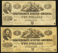 Confederate Notes:1862 Issues, T42 $2 1862 PF-2 Cr. 335;. T42 $2 1862 PF-3 Cr. 336.. ... (Total: 2notes)