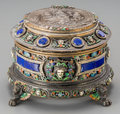 Silver Holloware, Continental:Holloware, A Viennese Silver, Enamel, Lapis, and Rock Crystal Table Casket inthe manner of Karl Rossler, late 19th century. Marks: A...