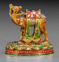 Silver Smalls:Other , A Mughal-Style 22K Gold, Diamond and Enamel Camel Figure, 20thcentury. 1-3/4 inches high x 1-3/4 inches wide (4.4 x 4.4 cm)...