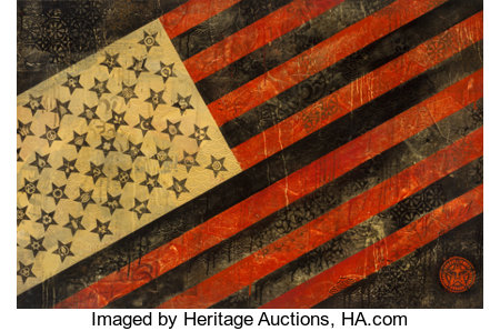 Shepard Fairey (b. 1970)Flag, 2010Hand-painted multiple with acrylic, screenprint and collage on paper29 x 44 inch...