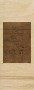 Works on Paper, Chinese School (18th Century). Untitled. Ink and watercolor on brown paper. 68 x 19-1/2 inches (172.7 x 49.5 cm). ...