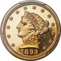 Proof Liberty Quarter Eagles, 1893 $2 1/2 PR65 Deep Cameo PCGS....