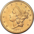 Liberty Double Eagles, 1871-CC $20 -- Repaired -- PCGS Genuine. AU Details. Variety 1-A....