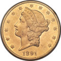 Liberty Double Eagles, 1891-CC $20 -- Cleaning -- PCGS Genuine. AU Details. Variety 1-A....
