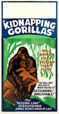 "Movie Posters:Exploitation, Love Life of a Gorilla (Jewel Productions, R-1940s). Three Sheet(41"" X 82""). Reissue Title: Kidnapping Gorillas.. ..."