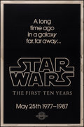 "Movie Posters:Science Fiction, Star Wars (Killian Enterprises, R-1987). 10th Anniversary GoldMylar One Sheet (27"" X 41""). Style A Teaser. Science Fiction..."