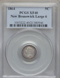 "Canada:New Brunswick, Canada: New Brunswick. Victoria ""Large 6"" 5 Cents 1864 XF40PCGS,..."