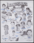 Baseball Collectibles:Photos, Brooklyn Dodgers Multi-Signed Oversized Photograph....