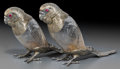 Silver Holloware, British, A Pair of William Leuchars Victorian Silver and Etched Glass CanaryScent Bottles, London, 1882. Marks: (lion passant), (leo... (Total:2 Items)