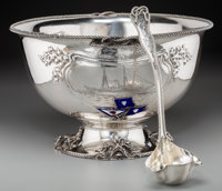 An Impressive Silver Philadelphia Yacht Club Nautical Presentation Punch Bowl and Ladle, attributed to Dominick & Ha...