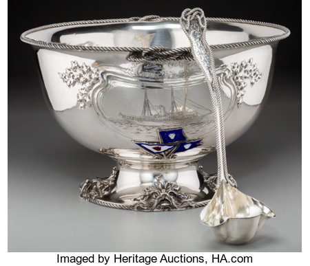 An Impressive Silver Philadelphia Yacht Club Nautical Presentation Punch Bowl and Ladle, attributed to Dominick & Haff, New ... (Total: 2 Items)