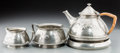 Silver Holloware, Continental, A Four-Piece Liberty & Co. Tudric Pewter Stacking TeaSet, designed by Archibald Knox, London, circa 1903 . ... (Total: 4Items)
