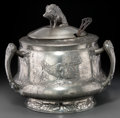 Silver Holloware, Continental, A Large Kayserzinn Pewter Three-Handled Tureen, Krefeld, Germany,early 20th century. Marks: KAYSERZINN, 28, 4297. 14-3/...