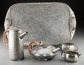 Silver Holloware, British, A Five-Piece Liberty & Co. Tudric Pewter Tea and CoffeeService, designed by Archibald Knox, London, England... (Total: 5Items)