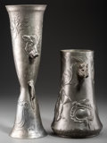 Silver Holloware, Continental, Two Kayserzinn Pewter Vases with Boar and Hound Motifs, Krefeld,Germany, late 19th century - early 20th century. Marks to b...(Total: 2 )