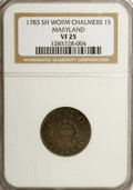 Colonials: , 1783 SHLNG Chalmers Shilling, Short Worm VF25 NGC. Breen-1011, Crosby Pl. IX, 5. A light cream...