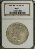 Argentina: , Argentina: Republic Peso 1882, KM29, MS61 NGC, lightly toned withconsiderable mint luster, particularly on the reverse - anincreasing...