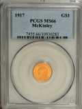 Commemorative Gold: , 1917 G$1 McKinley MS66 PCGS. The frosty, mattelike luster permeatesboth sides of the delectable amber-gold Premium Gem coi...