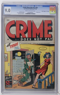 "Crime Does Not Pay #43 Davis Crippen (""D"" Copy) pedigree (Lev Gleason, 1946) CGC VF/NM 9.0 Cream to off-white..."