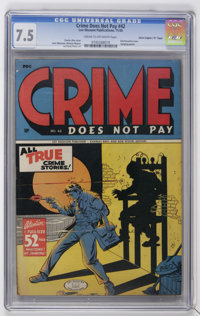 "Crime Does Not Pay #42 Davis Crippen (""D"" Copy) pedigree (Lev Gleason, 1945) CGC VF- 7.5 Cream to off-white pa..."