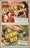 "Movie Posters:Adventure, 16 Fathoms Deep & Other Lot (Monogram, 1948). Title Lobby Cards(2) (11"" X 14""). Adventure.. ... (Total: 2 Items)"