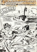 Original Comic Art:Panel Pages, Gil Kane, Frank Springer, and Vince Colletta Giant-SizeConan #4 Title Page 1 Original Art (Marvel, 1975)....