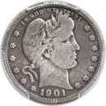 Barber Quarters, 1901-S 25C -- Graffiti -- PCGS Genuine. VG Details....