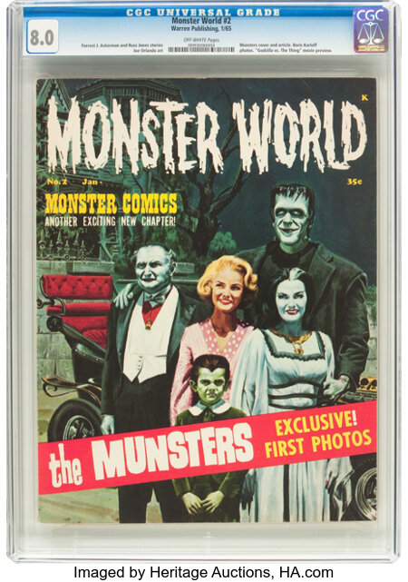 Monster World #2 (Warren, 1965) CGC VF 8.0 Off-white pages....
