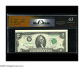 Error Notes:Obstruction Errors, Fr. 1935-F $2 1976 Federal Reserve Note. RCGS Choice CU 63. Thethird printing displays a pronounced shift upward while ther...
