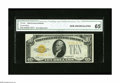 Error Notes:Obstruction Errors, Fr. 2400 $10 1928 Gold Certificate. CGA Gem Uncirculated 65. Gold Certificate errors are in a class by themselves, with such...