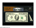 Error Notes:Major Errors, Fr. 2027-D $10 1985 Federal Reserve Note. RCGS Choice CU 63. Asmall bank note paper obstruction was present during the face...