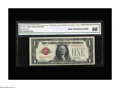Small Size:Legal Tender Notes, Fr. 1500 $1 1928 Legal Tender Note. CGA Gem Uncirculated 66.. Serial number A00000555A graces this note which saw limited us...