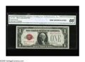 Small Size:Legal Tender Notes, Fr. 1500 $1 1928 Legal Tender Note. CGA Gem Uncirculated 66.. Plentiful margins are noticed on this one year type issue whic...