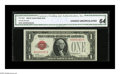 Small Size:Legal Tender Notes, Fr. 1500 $1 1928 Legal Tender Note. CGA Choice Uncirculated 64.. Natural paper wave and embossing are visible through the th...