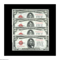 Small Size:Legal Tender Notes, Fr. 1527 $5 1928B Mule Legal Tender Notes. Choice-Gem Crisp Uncirculated.. Four lovely examples, three of which are consecut...