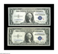 """Small Size:Silver Certificates, Fr. 1609/Fr. 1610 $1 1935A """"R"""" & """"S"""" Silver Certificates. Gem Crisp Uncirculated.. This pair is one of the very nicest R & S... (Total: 2 notes)"""