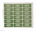 Small Size:Silver Certificates, Fr. 1614 $1 1935E Silver Certificates. Uncut Sheet of 18. Gem Crisp Uncirculated.. This high quality uncut sheet of this num...