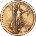 High Relief Double Eagles, 1907 $20 High Relief, Wire Rim -- Tooled, Polished -- ANACS. AU53 Details....