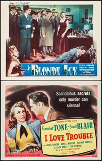 """I Love Trouble & Other Lot (Columbia, 1948). Title Lobby Card & Autographed Lobby Card (11"""" X 14&qu..."""