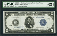 Fr. 851c $5 1914 Federal Reserve Note PMG Choice Uncirculated 63 EPQ